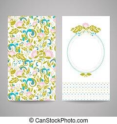 招待, 抽象的, 花, あなたの, カード, design.