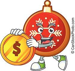 持って来なさい, ボール, クリスマス, コイン, character., 漫画, 赤