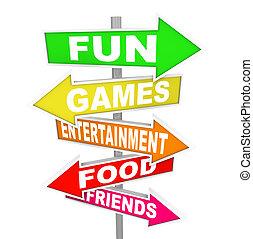 指すこと, 催し物, 活動, 楽しみ, サイン, 方向