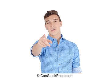 指すこと, 若い, カメラ, 指, 微笑の人