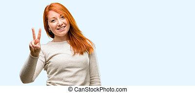 指, 2, redhead, 数, 上げること, 美しい女性, 若い