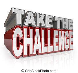 挑戦, イニシアティブ, 取得, 言葉, 行動, 3d