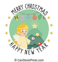 挨拶, クリスマス, 新しい, 少し天使, 年