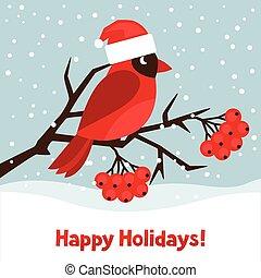 挨拶, ホリデー, 枢機卿, 赤い鳥, カード, 幸せ