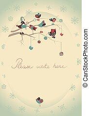 挨拶, 鳥, カード, クリスマス