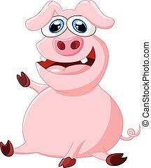 振ること, 豚, 漫画, 手
