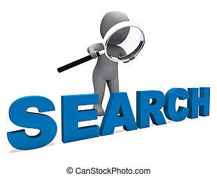 捜索しなさい, オンラインで, 特徴, 研究, インターネット, ファインド, ショー