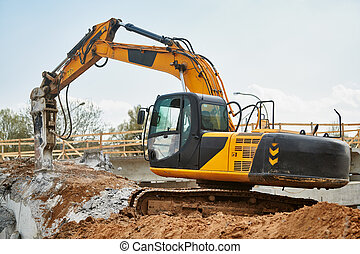 掘削機, ハンマー, 仕事, 水力である, ブレーカ, 破壊