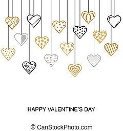 掛かること, バレンタイン, 心, 日, 装飾用である, カード