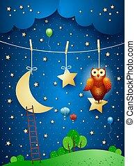 掛かること, eps10, stars., ファンタジー, イラスト, ベクトル, フクロウ, 夜, 月