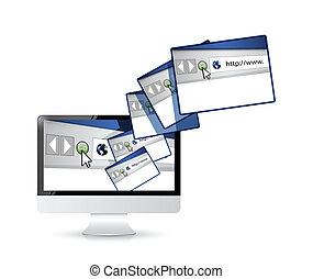 接続, コンピュータ, サイト, インターネット