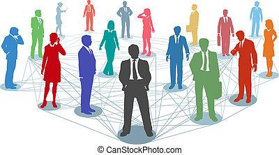 接続, 人々, ネットワーク, ビジネス, 連結しなさい