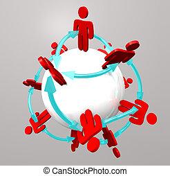 接続, 人々, -, ネットワーク, 社会