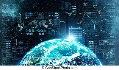 接続, 外の, インターネット, スペース