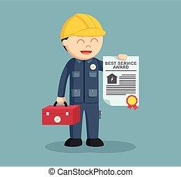 提示, 彼の, 電気技師, 賞, 証明書