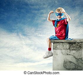 握りこぶし, 男の子, 上げられた, 英雄, 極度