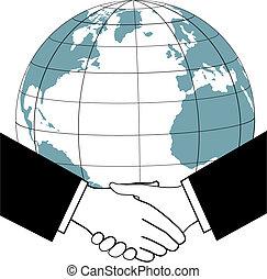 握手, ビジネス, 世界的である, 合意, 取引しなさい, 国, アイコン