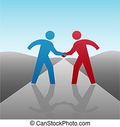 握手, ビジネス 人々, 一緒に, 進歩, パートナー