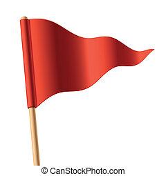 揺れている旗, 三角, 赤