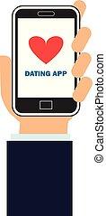 携帯電話, app, デートする, 手を持つ