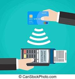 支払い, pos, card., ∥確証する∥, ターミナル, 借方