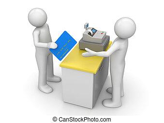 支払う, 金融, -, 現金, コレクション, クレジット, 机, カード