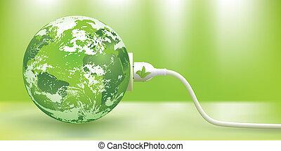 支持できる, ベクトル, エネルギー, 緑, 概念