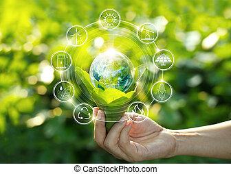 支持できる, development., 葉, 供給される, これ, ライト, エネルギー, アイコン, nasa., 手, 源, エコロジー, 緑, に対して, 保有物, 自然, 電球, 回復可能, イメージ, concept., 要素