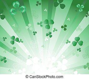 放射, 背景, 緑, クローバー