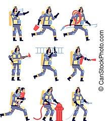 救出, セービング, 漫画, firehose, fireman., ベクトル, equipment., セット, ヘルメット, 消火器, 特徴, 消防士, 人々, 消防士