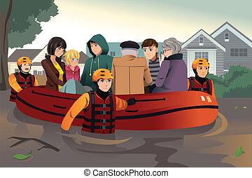 救出, 人々, 助力, チーム, の間, 氾濫