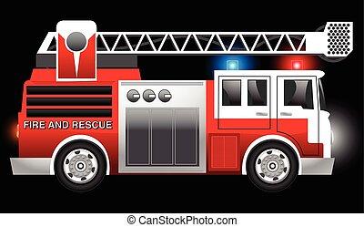 救出, 火, イラスト, ライト, トラック, ぴかっと光る, 赤, 3d