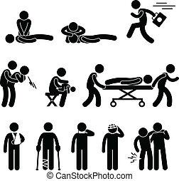 救出, 緊急事態, 援助, cpr, 最初に, 助け