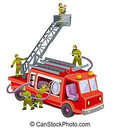 救助, 隔離された, 漫画, イラスト, トラック, 子供, オブジェクト, ベクトル, 背景, 白, 消防士, 火