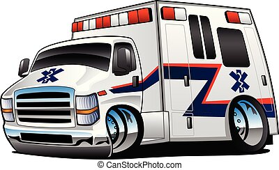 救急車, ベクトル, トラック, 漫画, イラスト, 医療補助員, 隔離された, 救出, 白