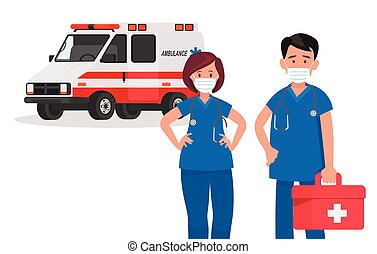 救急車, illustration., staff., 恋人, doctors., ベクトル