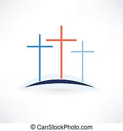 教会, 十字, アイコン