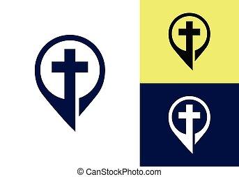 教会, symbols., 交差点, 印, キリスト教徒, logo., イエス・キリスト