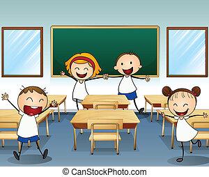 教室, 中, 子供, リハーサルをする