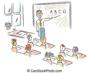 教室, 学校, ベクトル, 子供, 教師