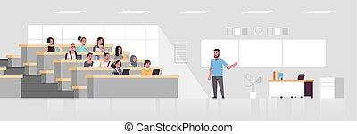教室, 平ら, 概念, 大学, モデル, 生徒, 上に, 現代, マレ, 教授, 長さ, フルである, 大学, 黒板, 聞くこと, 内部, 講義, 横, 教育, ホール
