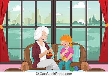 教授, 孫娘, 編むこと, 彼女, 祖母