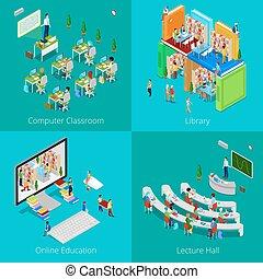 教育, concept., ベクトル, 大学, オンラインで, 教育, 教室, 大学, コンピュータ, hall., 図書館, 平ら, 等大, イラスト, 講義, 生徒, 3d