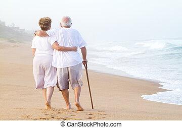 散歩, 恋人, 浜, 年配