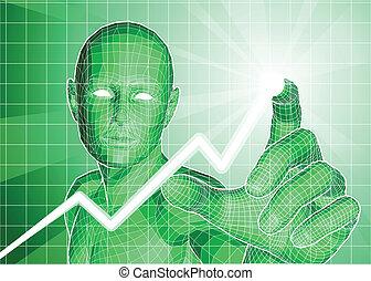 数字, 傾向, 追跡, グラフ, 未来派, 上向きに