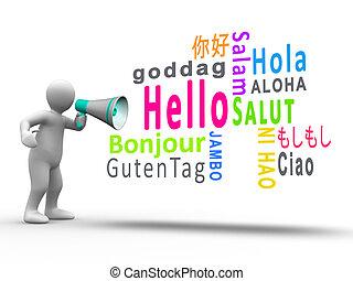 数字, 背景, メガホン, 白, 暴露, こんにちは, 言語, 別