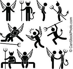 敵, シンボル, 悪魔, 天使, 友人