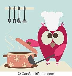 料理, かわいい, フクロウ, 大声で叫びなさい