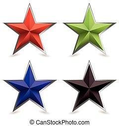 斜角, 形, 金属, 星