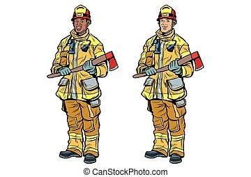 斧, ユニフォーム, アメリカ人, 消防士, アフリカ, コーカサス人